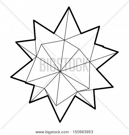 Ten pointed star icon in outline style on a white background vector illustration