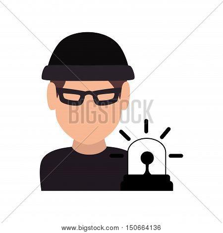 avatar man thief wearing black clothes and  blue siren alarm. vector illustration