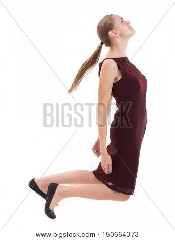 floating in the air woman.  or dodge falling woman. Rear view people collection.  backside view of person.  Isolated over white background. A girl in a burgundy dress slipped.