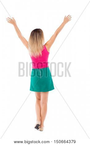 Back view of  business woman.  Raised his fist up in victory sign.    Raised his fist up in victory sign.  Rear view people collection.  backside view of person.  Isolated over white background. Girl