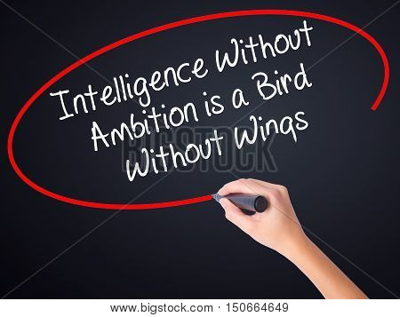 Woman Hand Writing Intelligence Without  Ambition Is A Bird  Without Wings With A Marker Over Transp