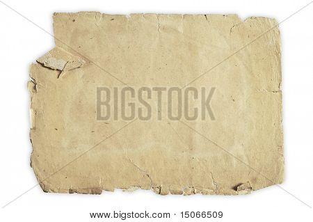 vintage paper isolated on white background with clipping path