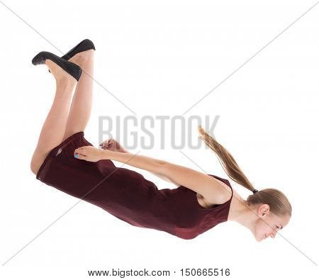 floating in the air woman.  or dodge falling woman. Rear view people collection.  backside view of person.  Isolated over white background. A girl in a burgundy dress falls down.