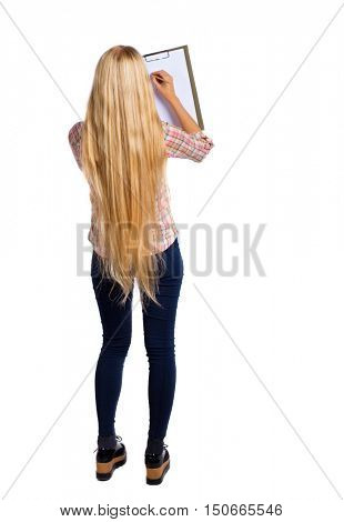 back view of  stands woman takes notes in a notebook. girl  watching. Rear view people collection.  backside view of person.  Isolated over white background. Girl with very long hair takes notes.