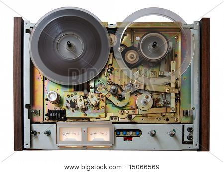 vintage analog recorder isolated on white background with clipping path