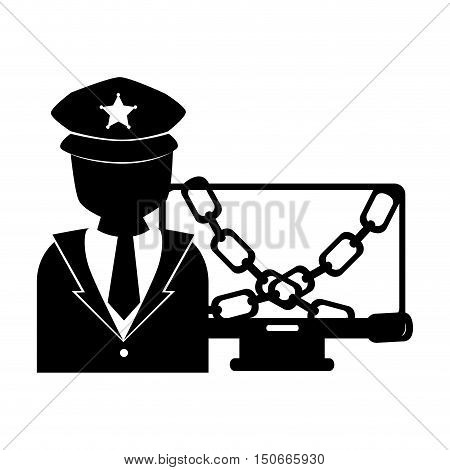 police man and computer with chains. silhouette. vector illustration