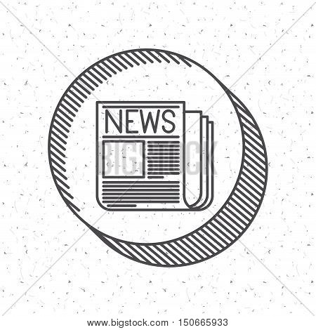 Newspaper icon. News media communication broadcasting theme. Texture background. Vector illustration