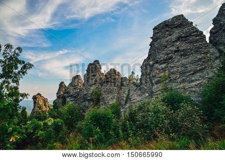 Amazing landscape with mountain range and beautiful blue sky, dragon backbone, Russia, Ural, Europe - Asia boundary.