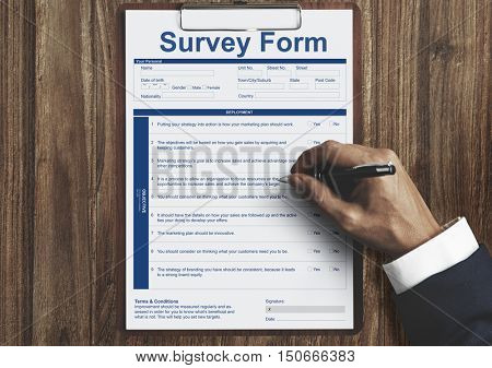 Survey Form Research Poll Form Concept