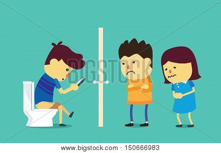 People wait on a long time at front toilet because young man using smartphone on flush toilet. This illustration about mobile phone overuse.