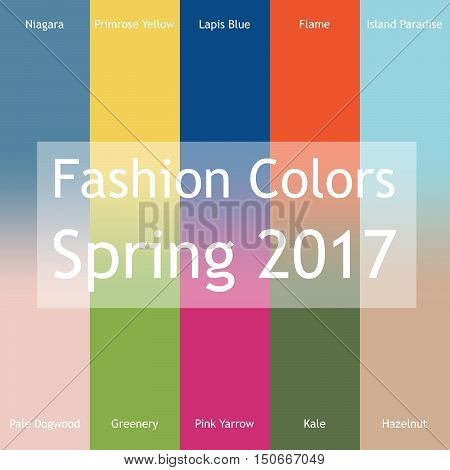Blurred Fashion Infographic With Trendy Colors Of The 2017 Spring. Niagara,primrose Yellow,lapis Blu