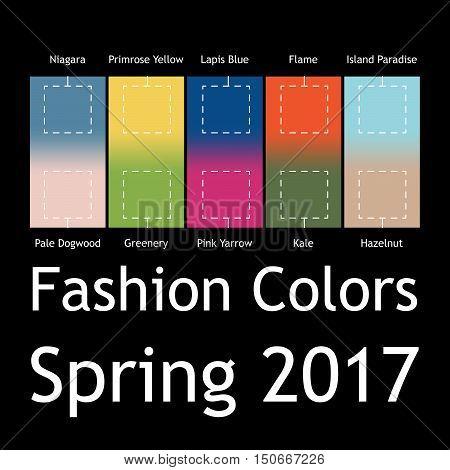 Blurred fashion infographic with trendy colors of the 2017 Spring. Niagara Primrose Yellow Lapis BlueFlameIsland ParadisePale DogwoodGreeneryPink YarrowKaleHazelnut. Gradient mesh infographic