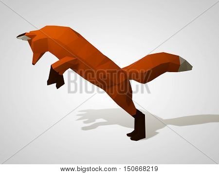 3D illustration of origami fox on his hind legs. Polygonal fox jumping. Geometric style red fox, side view. Hunting fox.Blue virus on a dark background. 3d illustration