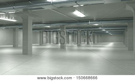 Parking garage interior industrial building Empty underground parking. 3d illustration