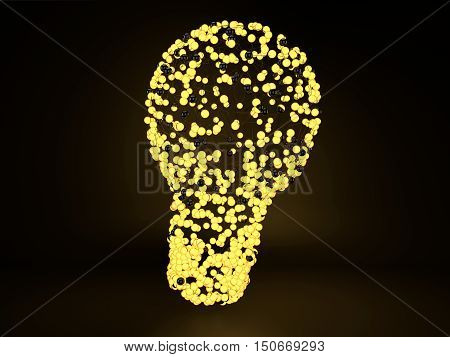 Light bulb made from connected yellow glowing spheres and lines on a dark background. 3d illustration of luminous balls in light bulb shape. Idea concept.