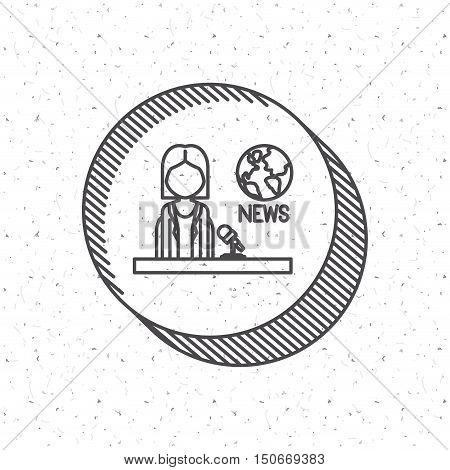 News Presenter icon. News media communication broadcasting theme. Texture background. Vector illustration