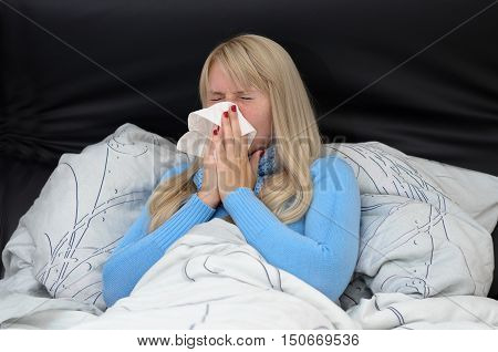 Sick Woman Suffering From Hayfever Or Flu