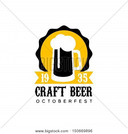 Craft Beer Logo Design Template With Pint. Black And Yellow Vector Label With Text And Establishment Date For Brewery Promotion.