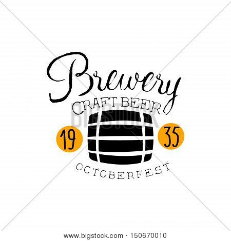 Brewery Logo Design Template With Barrel. Black And Yellow Vector Label With Text And Establishment Date For Brewery Promotion.