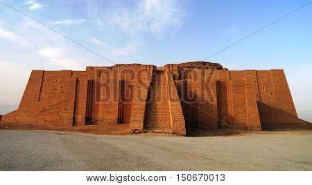 Restored ziggurat in ancient Ur sumerian temple in Iraq