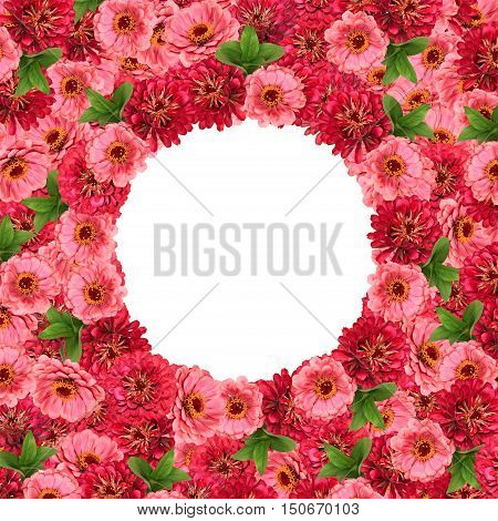 Natural frame with red and pink zinnias with a round middle