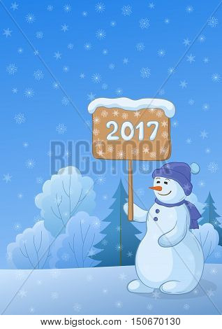 Christmas Holiday Cartoon, Snowmen Woman with the Poster for Your Text in Winter Snowbound Forest. Eps10, Contains Transparencies. Vector