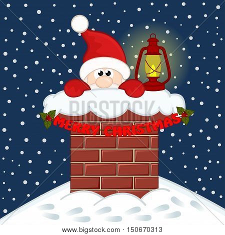 Santa Claus inside chimney - vector illustration, eps