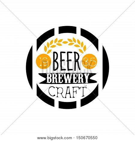 Beer Brewery Logo Design Template. Black And Yellow Vector Label With Text And Establishment Date For Brewery Promotion.