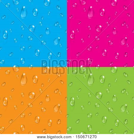 Set of transparent water drops on colored backdrop vector seamless backgrounds illustration