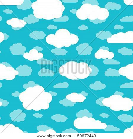 Bright turquoise blue sky and white clouds seamless pattern. Decoration repeat cloud background. Vector illustration