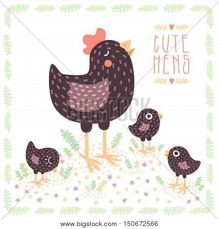 Cute black hen with baby chickens cartoon vector illustration.