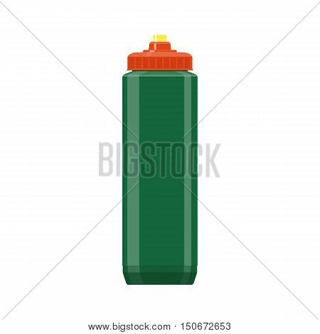 Green plastic sports bottle hydro flask water. vector illustration isolated on blue. sport, fitness, exercise. healthy lifestyle