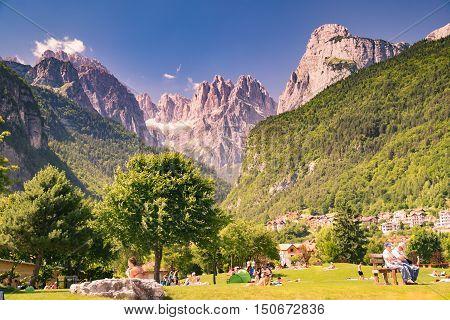 Molveno Italy - June 10 2015: Views of the Dolomites Italian alps famous worldwide.