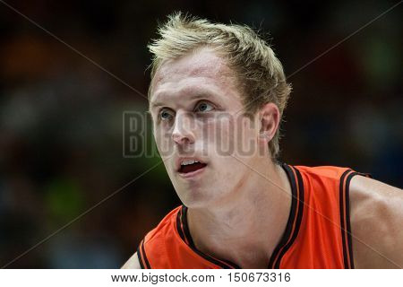 VALENCIA, SPAIN - OCTOBER 6th: Lucas Sikmaduring spanish league match between Valencia Basket and Real Madrid at Fonteta Stadium on October 6, 2016 in Valencia, Spain