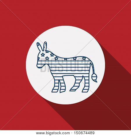 donkey inside circle icon. Vote election nation and government theme. Silhouette design. Vector illustration