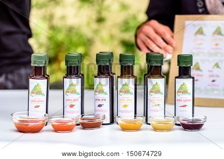 Ljubljana Slovenia - September 17 2016: 2nd Chili - Hot Pepper Festival Fair in Lepa Zoga. Different Hot Sauce makers present their products to the public. Kosobrin hot sauce.