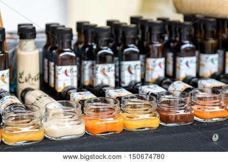Ljubljana Slovenia - September 17 2016: 2nd Chili - Hot Pepper Festival Fair in Lepa Zoga. Different Hot Sauce makers present their products to the public. Cilicen hot sauce.