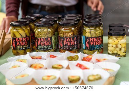 Ljubljana Slovenia - September 17 2016: 2nd Chili - Hot Pepper Festival Fair in Lepa Zoga. Different Hot Sauce makers present their products to the public. Volim Ljuto hot sauce.