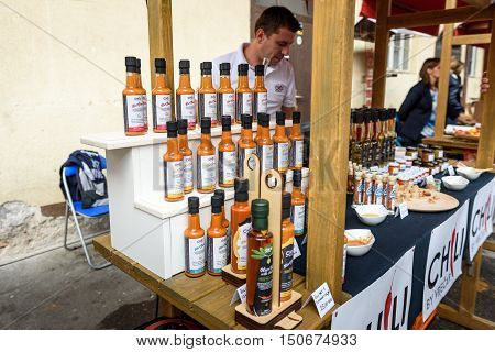 Ljubljana Slovenia - September 17 2016: 2nd Chili - Hot Pepper Festival Fair in Lepa Zoga. Different Hot Sauce makers present their products to the public. Vrecar hot sauce.