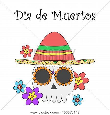 Dia de Muertos banner. Translation: Day of the dead