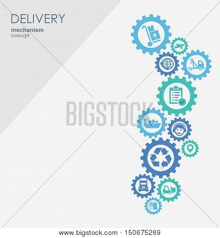 Delivery mechanism concept. Abstract background with connected gears and icons for logistic, strategy, service, shipping, distribution, transport, market, communicate concepts. Vector interactive