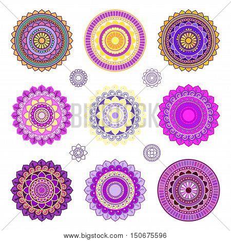 Set of colorful mandalas. Round mandala ornaments. Anti-stress therapy mandalas. Yoga mandala logo, mandala meditation poster. Unusual colored mandalas. Mandala design elements.
