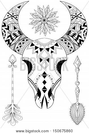 Zentangle Animal Skull with Sun and Arrows. Hand drawn ethnic tattoo for adult coloring pages, art therapy, boho t-shirt patterned print, posters, t-shirt. Vector isolated illustration. A4 size.