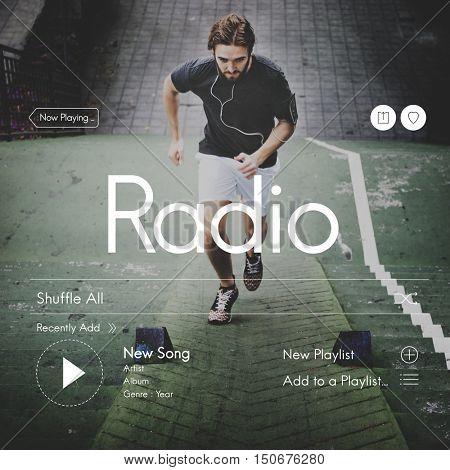 Athletic Fitness Music Audio Concept