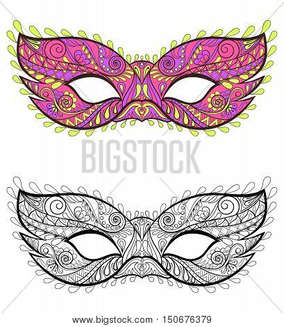 Bohemian Festive Masks set. Decorative Vector carnival elements for adult coloring pages, fashion print, hand drawn ethnic patterned t-shirt print. Boho chic style. Doodle Illustration, tattoo design.