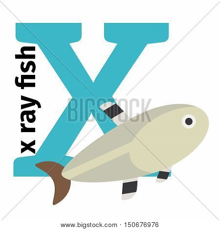 English animals zoo alphabet with letter X. X ray fish vector illustration
