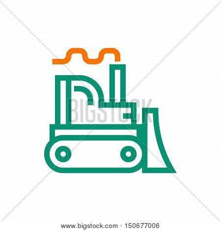 Bulldozer icon on white background Created For Mobile Infographics Web Decor Print Products Applications. Icon isolated. Vector illustration