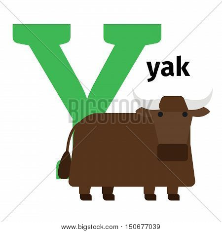 English animals zoo alphabet with letter Y. Yak vector illustration