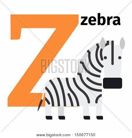 English animals zoo alphabet with letter Z. Zebra vector illustration