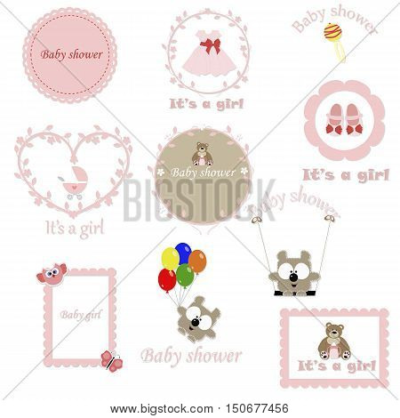 vintage set of baby frames for the girl. Baby Arrival and Shower Collection. template greeting or invitation. baby vector illustration.